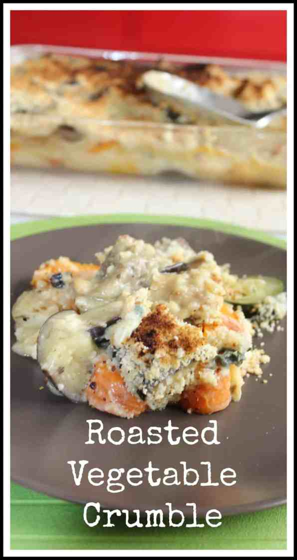 this roasted vegetable crumble is a perfect side dish for any gathering! Rich, creamy and cheesy with a crunch and crumbly topping