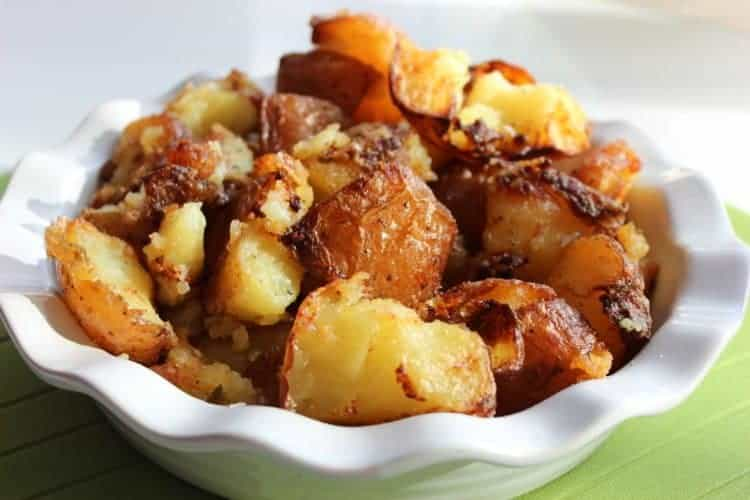 Roast Potatoes with Garlic, Herbs and Parmesan