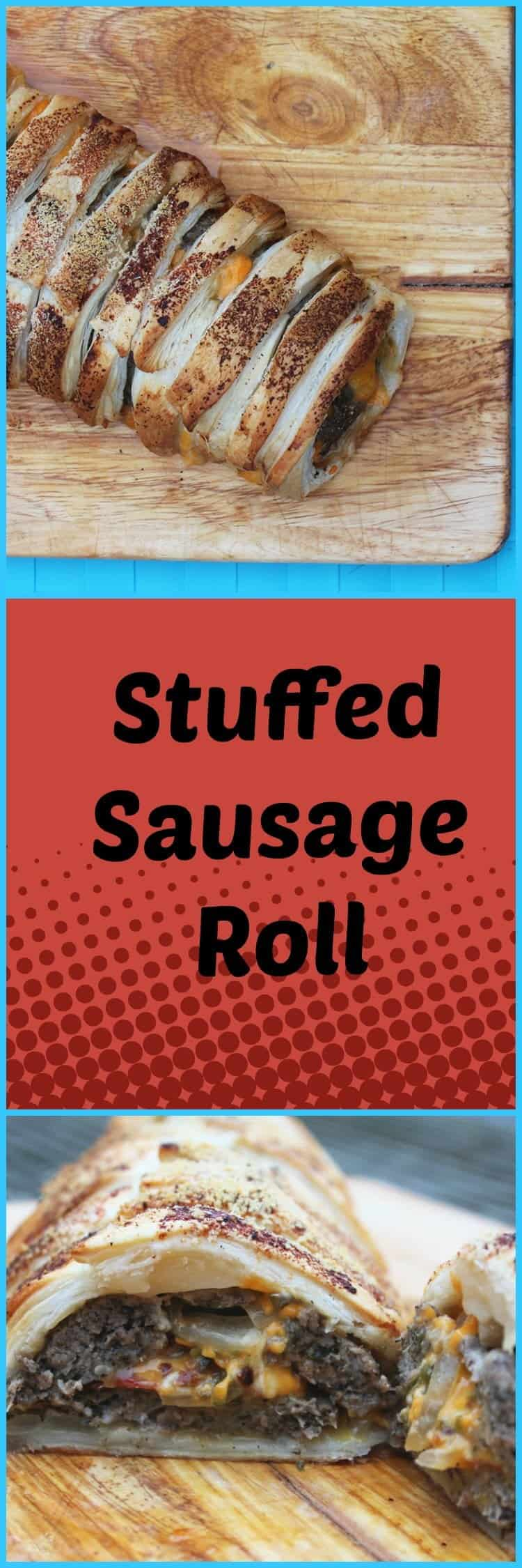 Stuffed Sausage Roll with cheese and jalapeno. Perfect for picnics and tailgating!