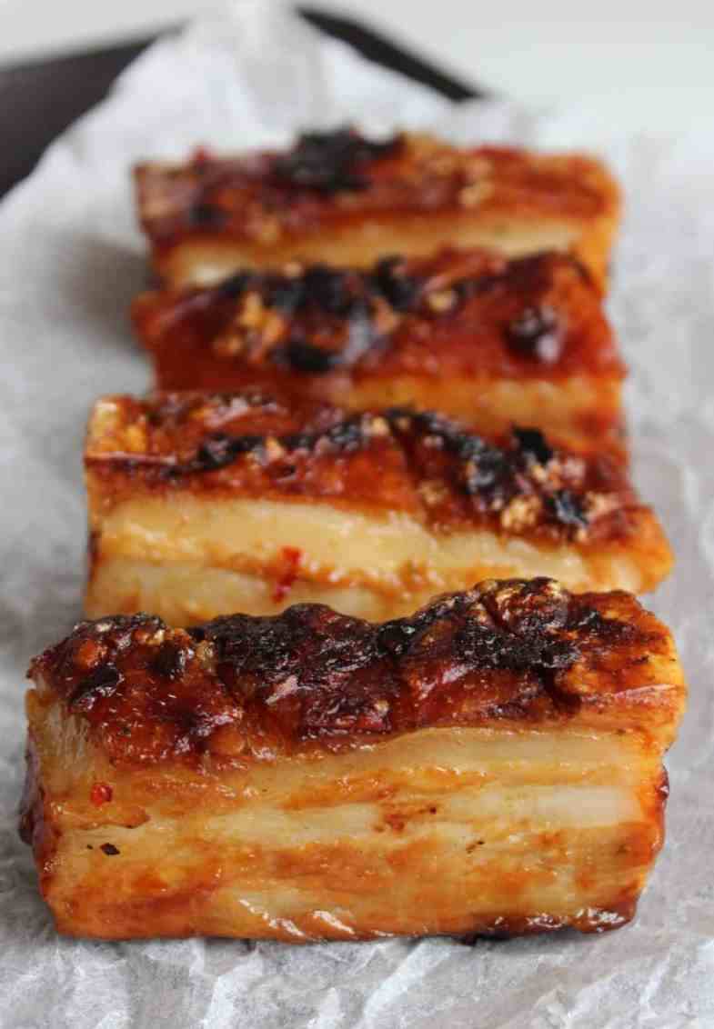 Close up of layers of fat on the pork belly slice