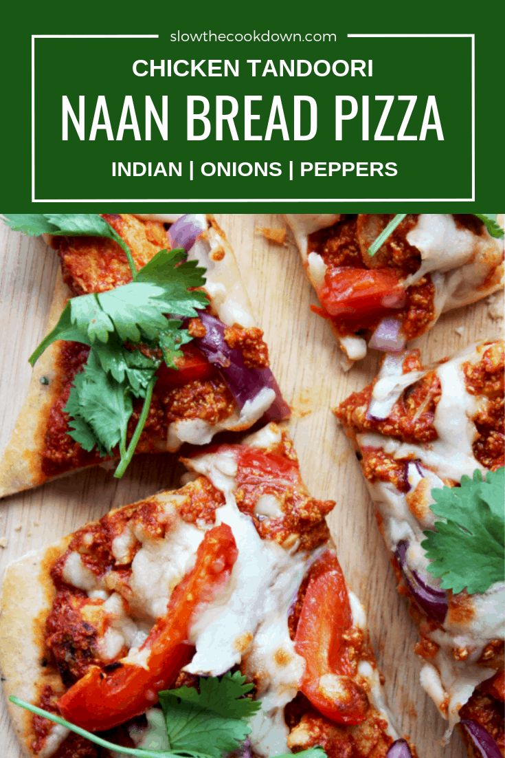Pinterest image. Top shot of naan bread pizza with text overlay