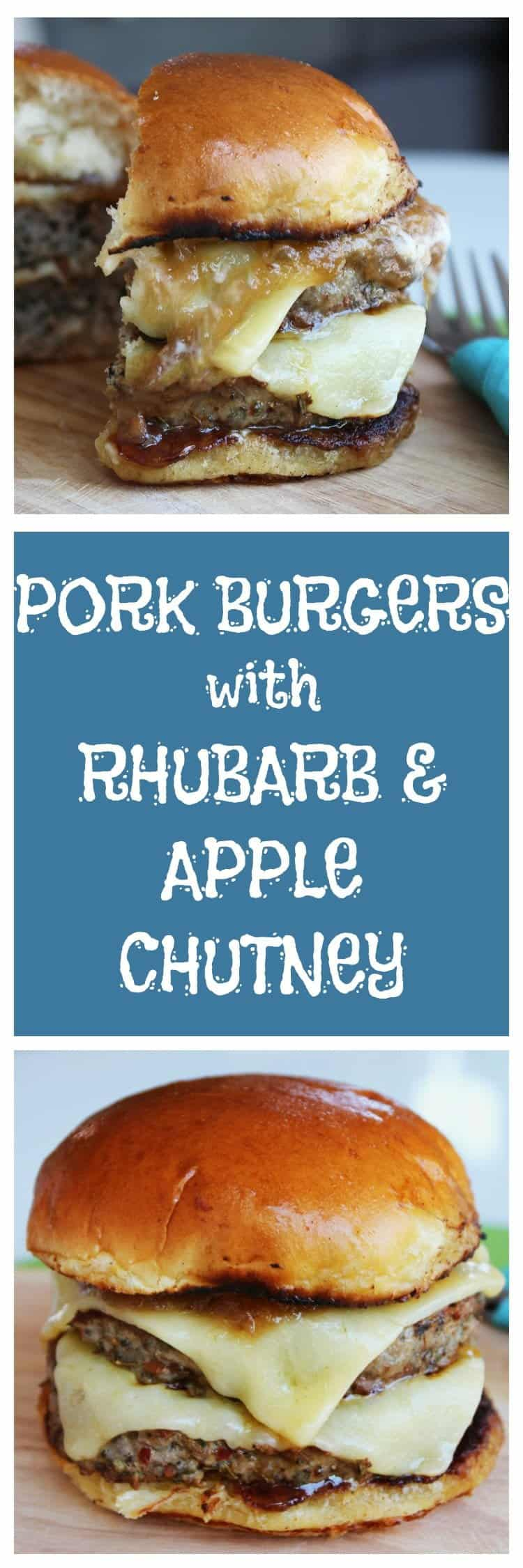 Pork Burger with Cheddar Cheese and Rhubarb and Apple Chutney