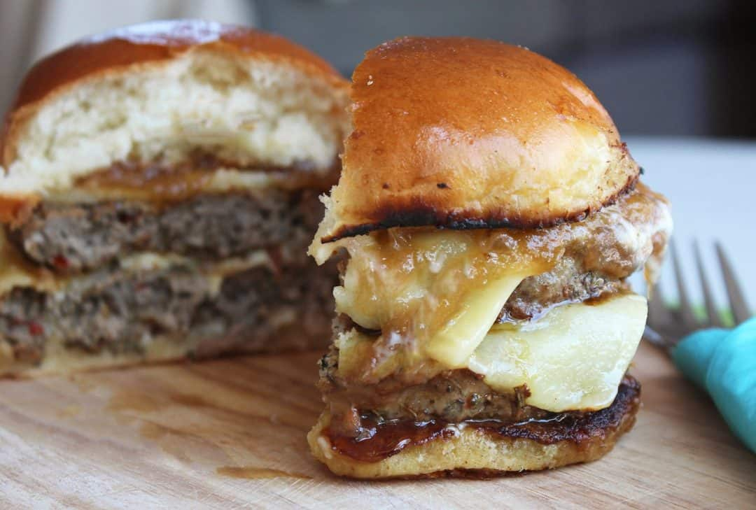 Pork & Cheddar Burger with Rhubarb and Apple Chutney