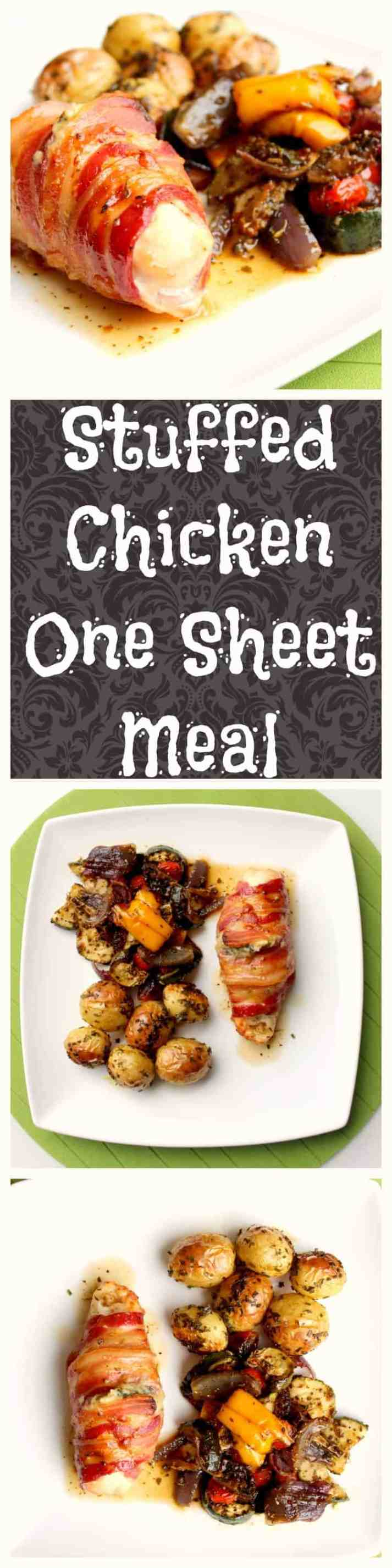 Stuffed Chicken One Sheet Pan Meal for two. Perfect for weeknight dinners, ready to eat in less than one hour