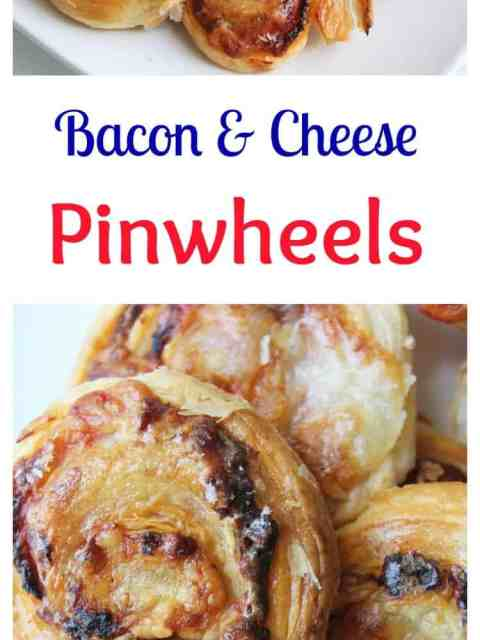 Puff pastry savoury pinwheels stuffed with cheese and bacon for a great party food. Quick and easy to make
