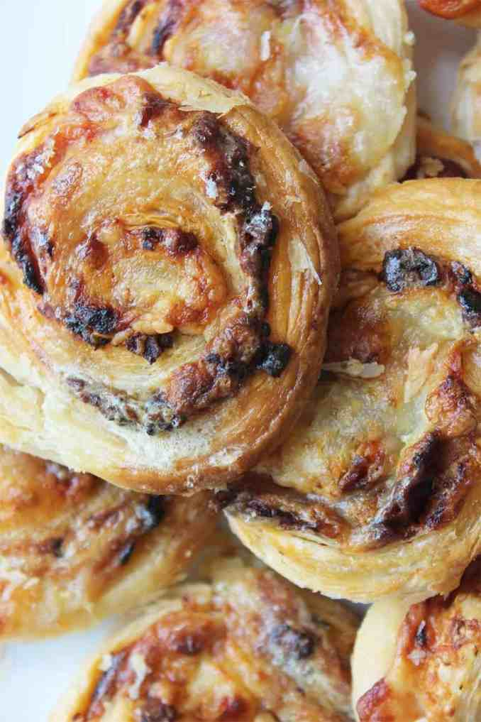 Close up puff pastry pinwheels