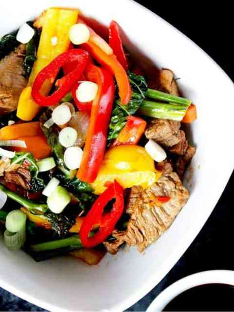 Marinated Beef Stir Fry with Rainbow Vegetables