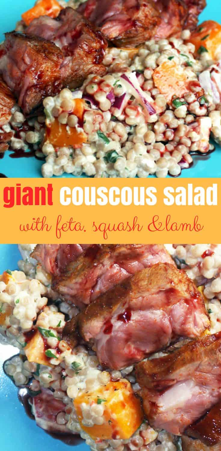 Giant couscous salad on a blue plate, topped with sliced lamb neck. Pinterest collage