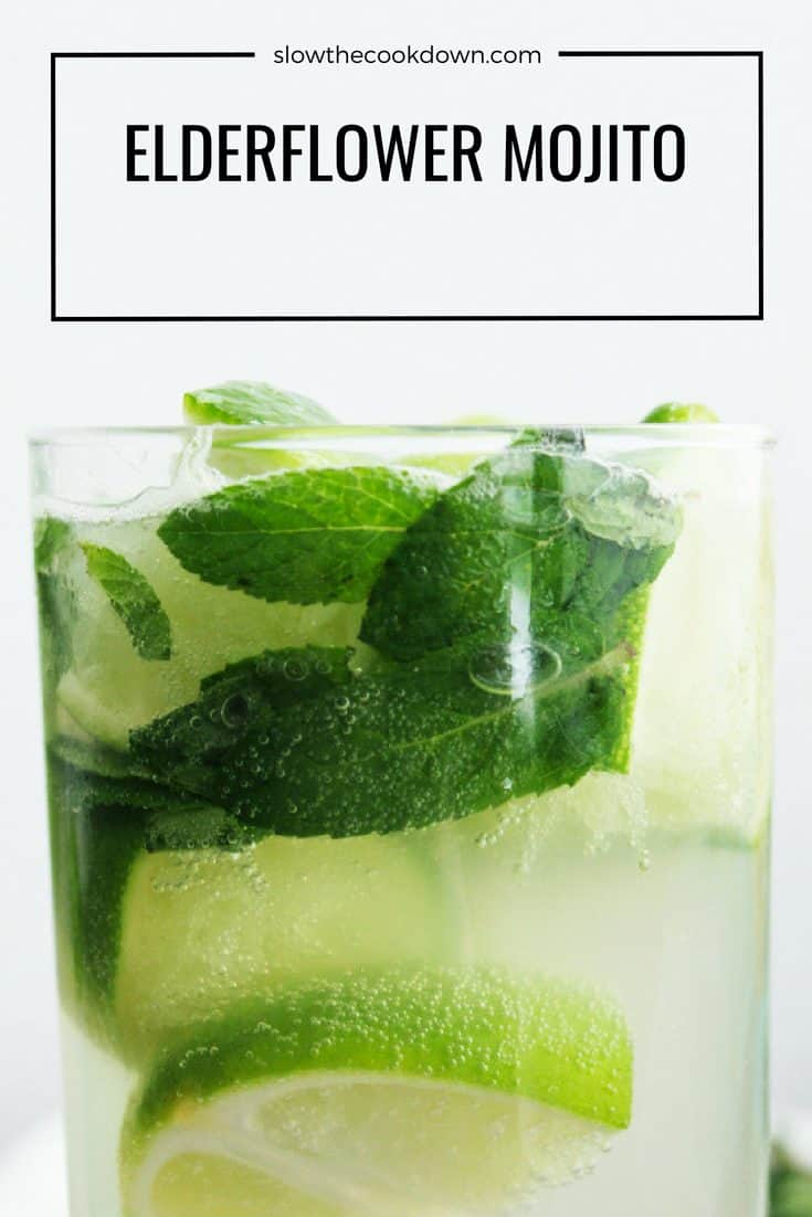 Pinterest image - close up of a mojito elderflower cocktail on a white background