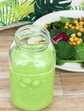 Green salad dressing in a mason jar