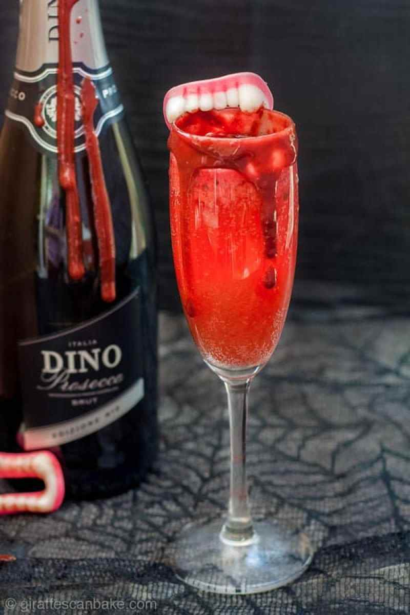A bloody bellini spooky halloween cocktail