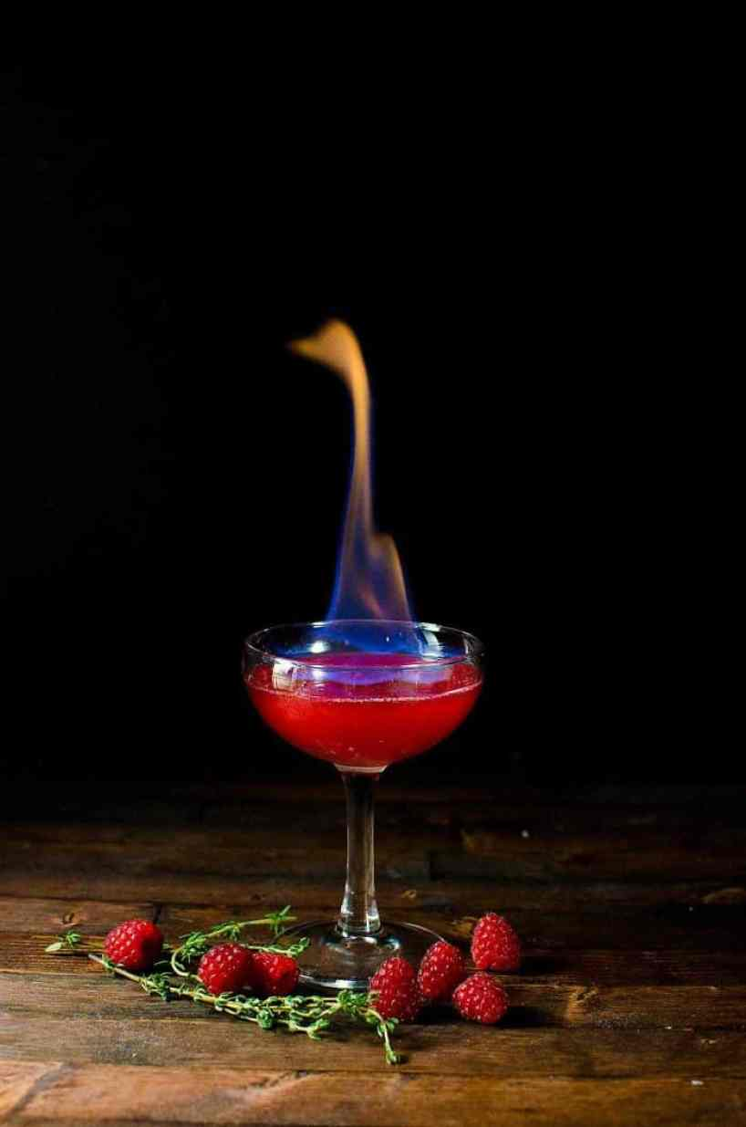 A spooky Halloween cocktail - A Flaming Dragon Heart