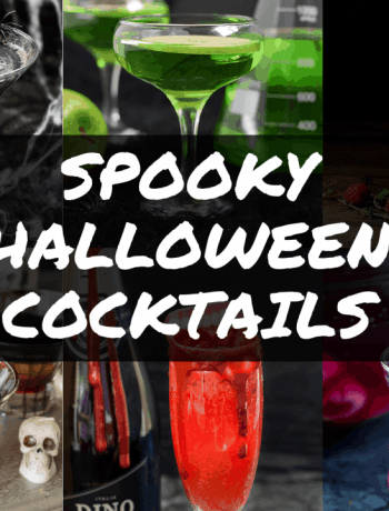 Collage of 6 spooky halloween cocktails