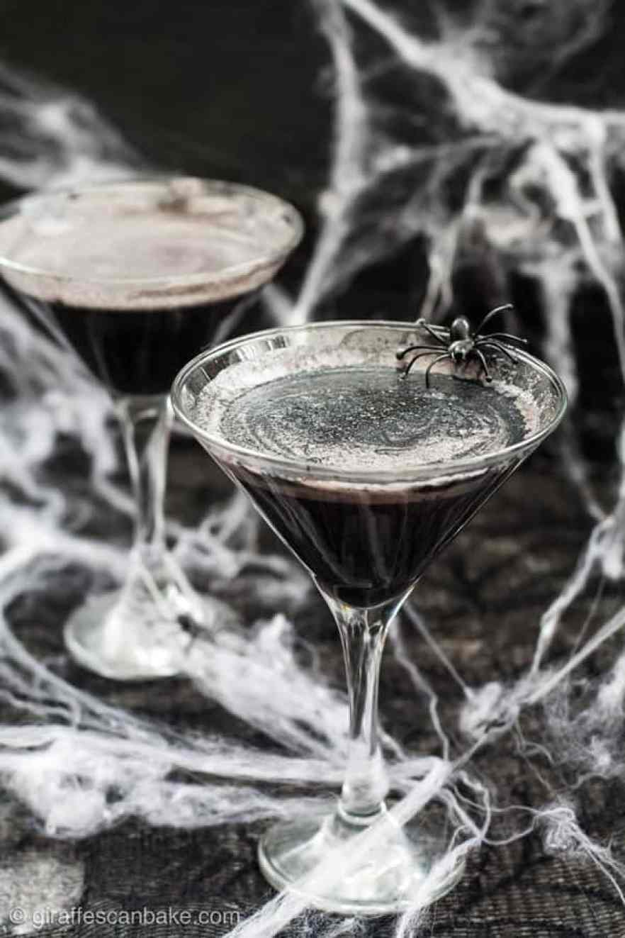 A spooky halloween cocktail - a black widow