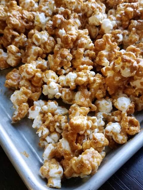 Peanut butter popcorn on a baking tray