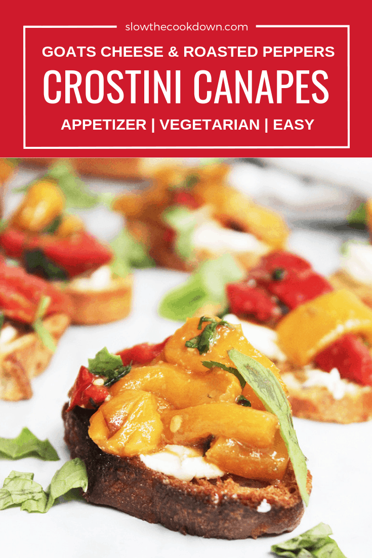 Pinterest image. A crostini canape with text overlay