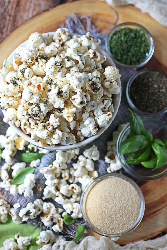 Garlic bread popcorn in a glass bowl