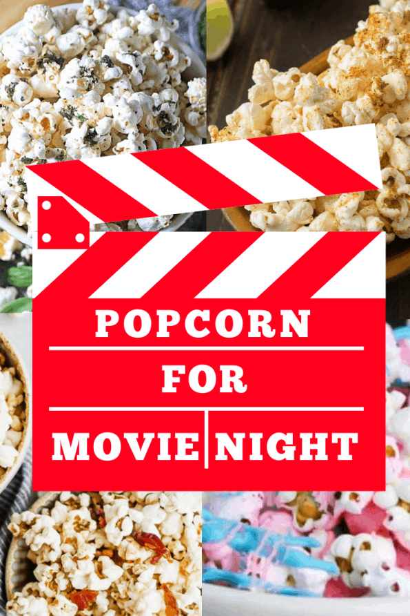 Pinterest image. Collage of popcorn shots with text overlay