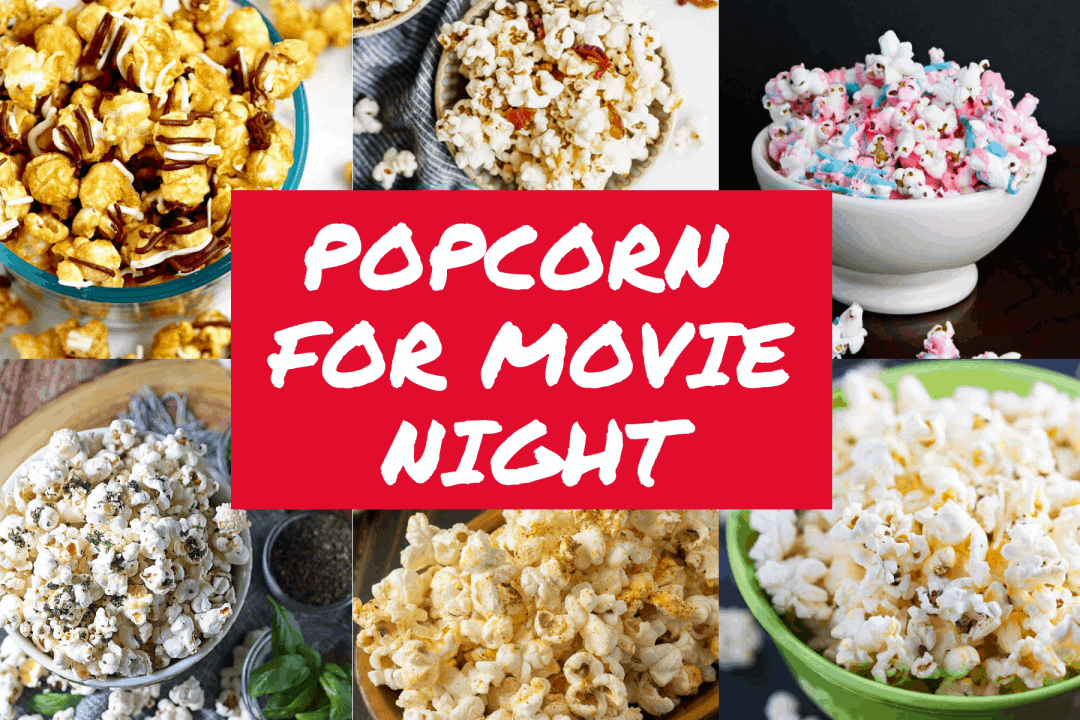 """Collage of popcorn shots with text overlay 'Popcorn for Movie Night"""""""