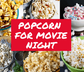 Collage of popcorn shots with text overlay 'Popcorn for Movie Night""