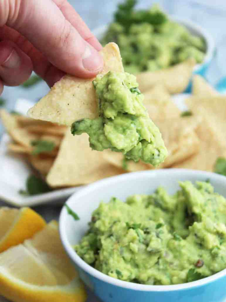 Guacamole on a tortilla chip