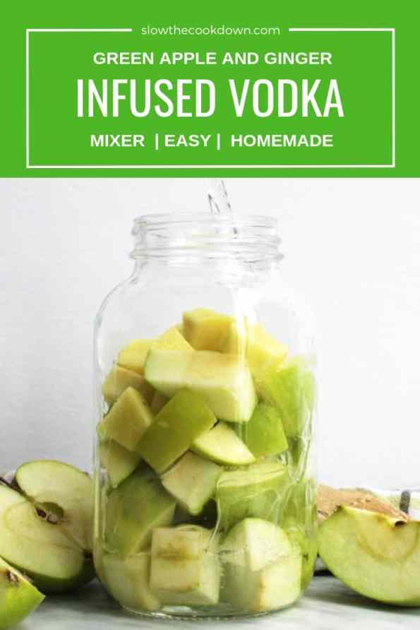 Pinterest image. Green Apple Vodka with text overlay