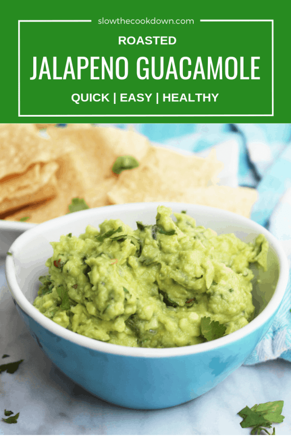 Pinterest image. Close up of jalapeno guacamole with text overlay