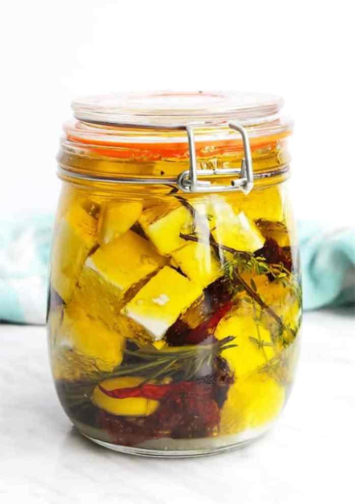 Marinated feta in a glass jar