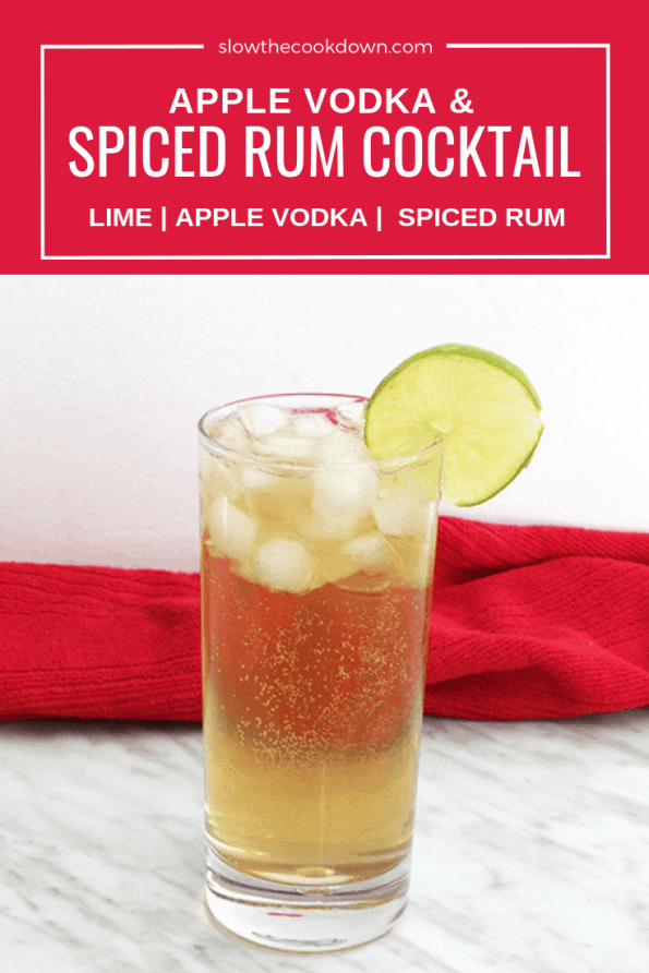 PInterest image. A spiced rum cocktail with text overlay.