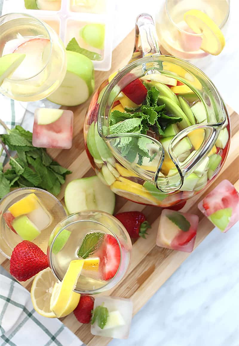Top shot of a jug of sangria with filled wine glasses