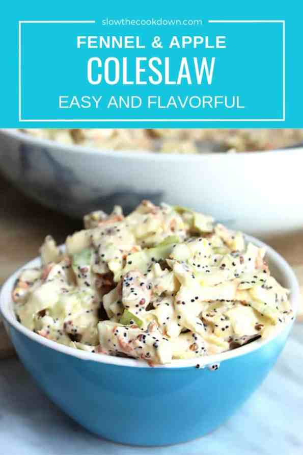 Pinterest image. A bowl of fennel and apple coleslaw with text overlay