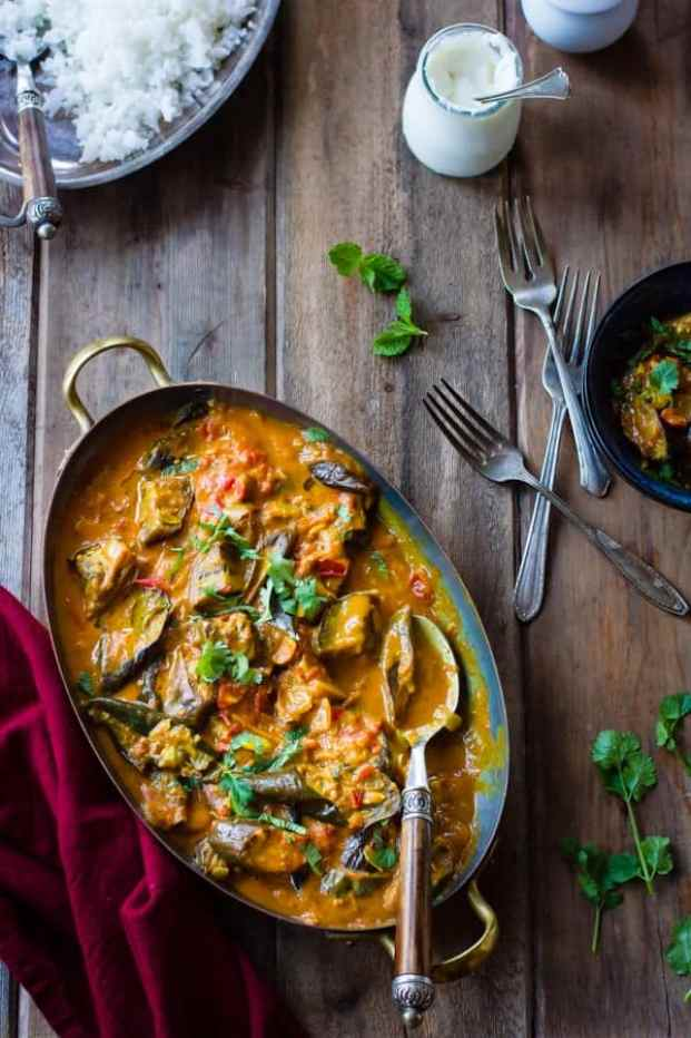 eggplant curry with coconut milk in a large serving dish