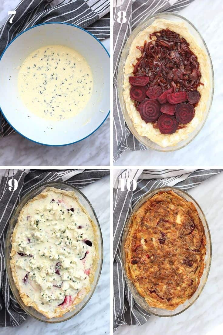 Four process shots showing how the beetroot tart is put together