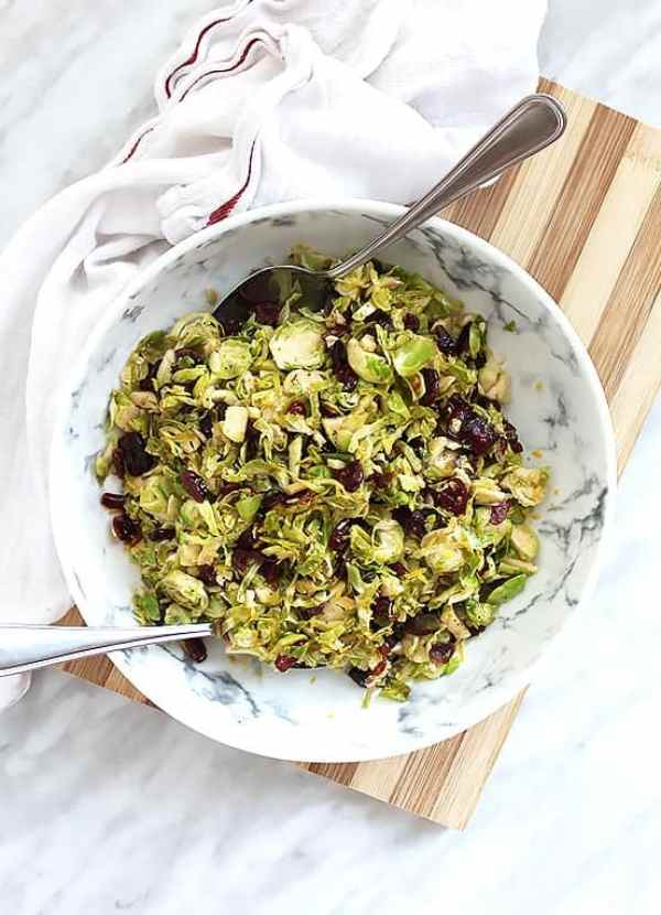 Top shot of Sauteed Brussels Sprouts with Cranberries in a large serving bowl