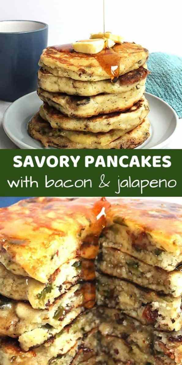 Pinterest image. Two photos of savory pancakes with a text overlay