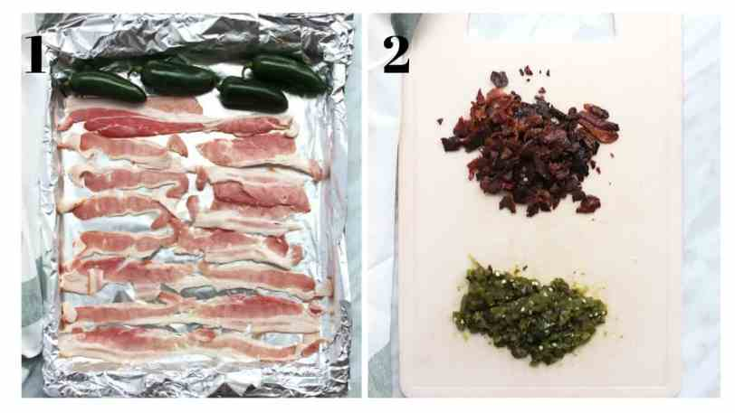 Two process photographs to show the bacon and jalapenos before and after cooking