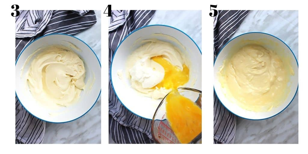 Three shots to show how to make the cheesecake filling