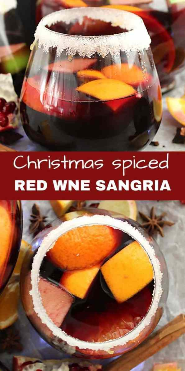 Pineterst graphic. Two pictures of Christmas red wine sangria with text separater