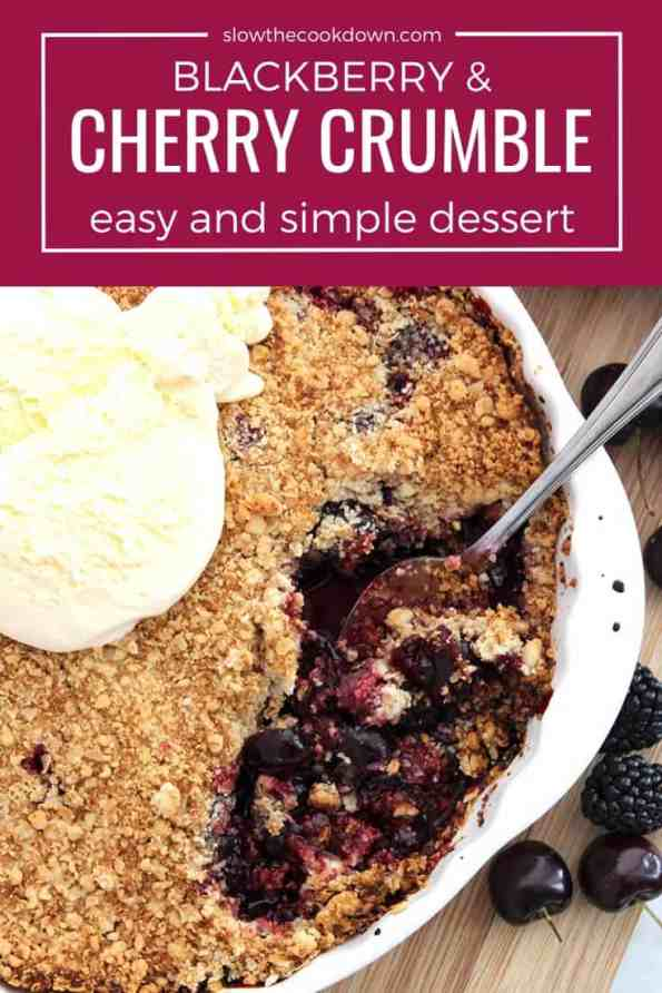 Pinterest image. A spoon in the cherry crumble with a text overlay