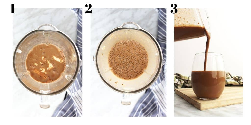 Three shots to show how to make the smoothie