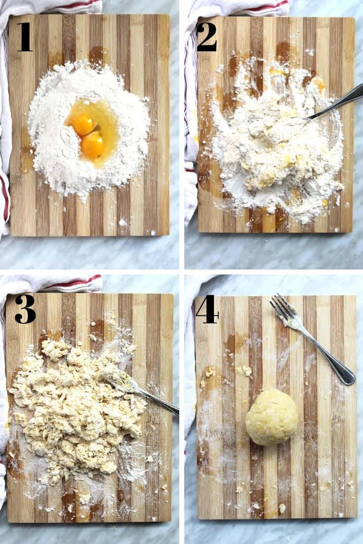 Step by step shots to show how to make pasta dough from scratch