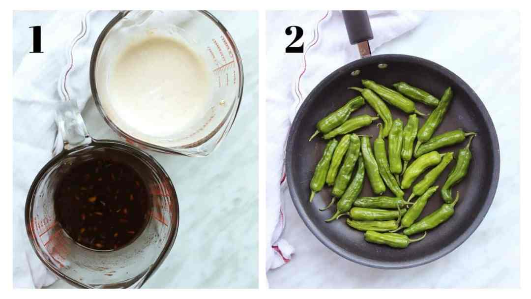 Two shots to show the dipping sauce and the peppers before being cooked