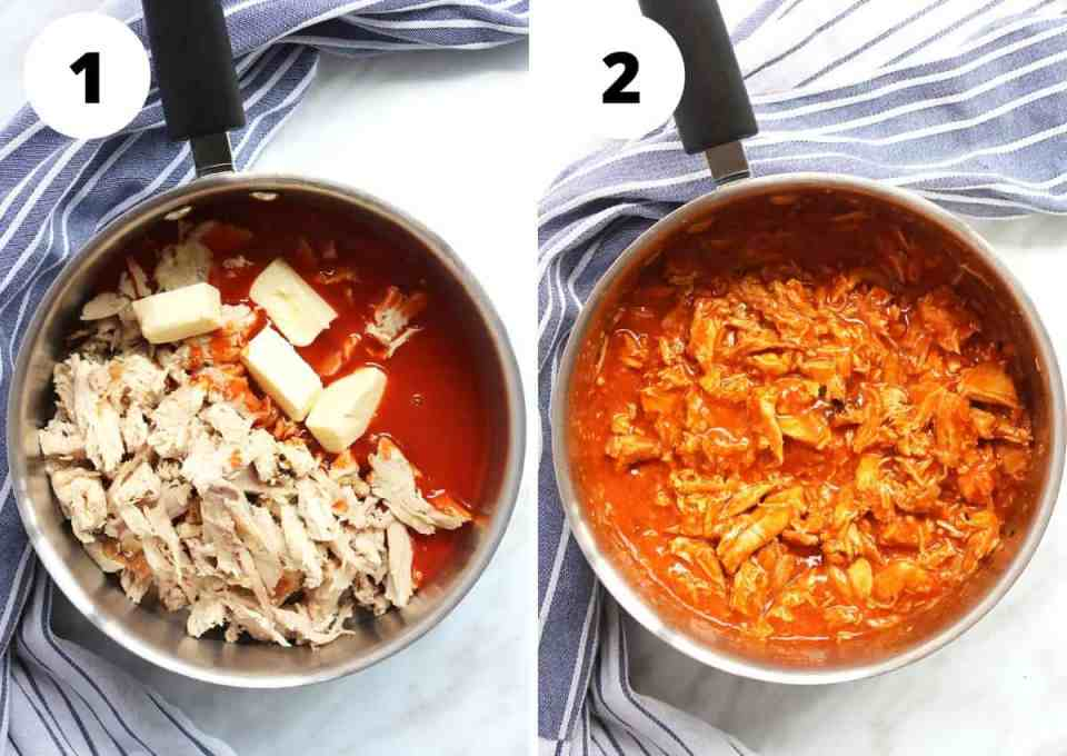 Two process shots to show how to make the buffalo chicken
