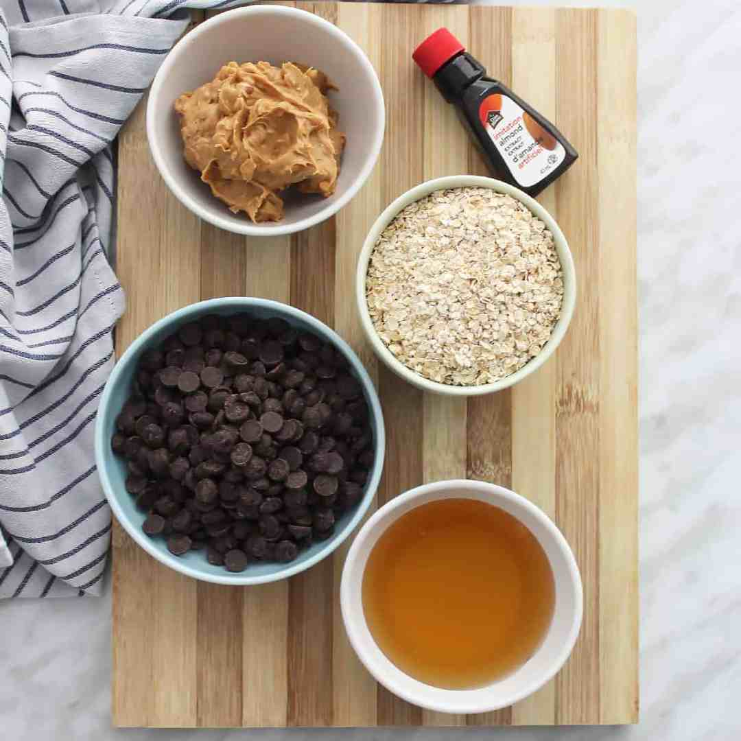 Ingredients to make the balls on a wooden chopping board