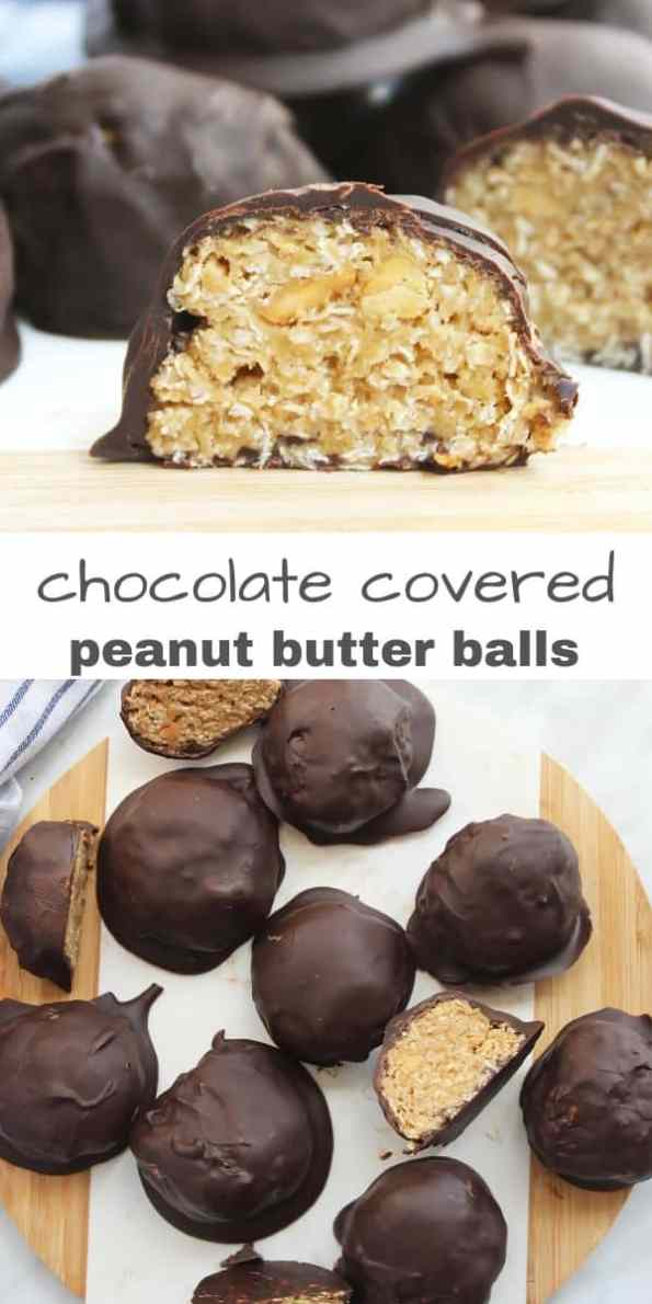 Pineterst graphic. Two photos of the chocolate oat balls with text