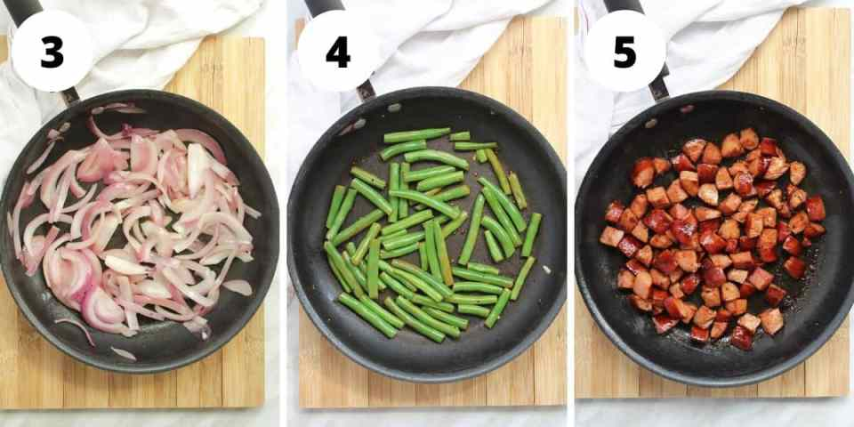 How to cook the onions, beans and chorizo
