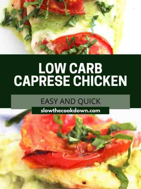 Pinterest graphic. Stuffed Caprese Chicken with text