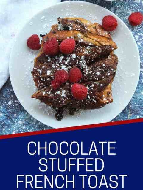 Pinterest graphic. Chocolate stuffed French toast with text.