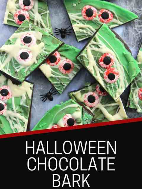 Pinterest graphic. Halloween bark with text.