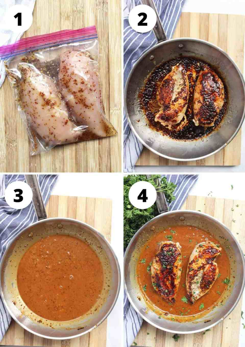 Four process shots to show how to marinate and cook the chicken breasts.